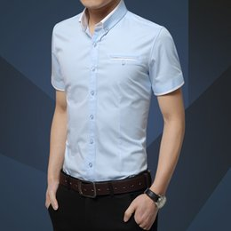 Formal Shirts Gray Color Australia - Now popular new men's solid color casual high quality shirt summer men's fashion short sleeve business formal shirt