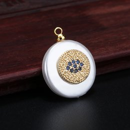 cz evil eye charm wholesale NZ - navy blue cz pave pattern coin evil eye protection charm gold pendant bead for jewelry DIY making for choker necklace earring