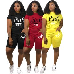 Pink Clothing Women UK - pink Letter Outfits Women Clothes Tracksuit 2 Piece Woman Set Sports Suits Pants T Shirts Shorts Sets Sweatsuits Summer Joggers