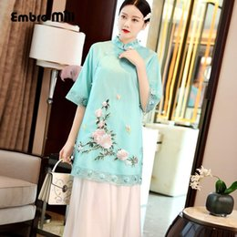 Wholesale peony embroidery for sale - Group buy 2019 summer The New Retro Indie Folk Organza peony embroidery cheongsam elegant woman coat plus size S XL