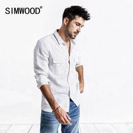 $enCountryForm.capitalKeyWord Australia - Simwood 2019 Summer Men Shirt Casual Striped Shirt 100% Linen Long Sleeve Shirts Slim Brand Clothing Free Shipping 190173 Y19071701