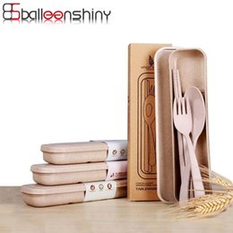 Knife Set For Camping Australia - Balleenshiny Portable Degradable Wheat Straw Tableware Eco-friendly Travel Kids Adult Cutlery For Camping Picnic Set Gifts C19041901