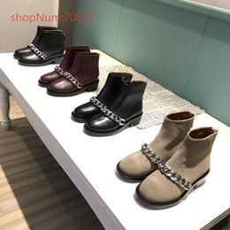 Boot Heel Chains Australia - Autumn and Winter 2018 British Wind leather thick heel metal chain, side zipper round head female Martin boots, size 35-40