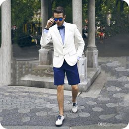 $enCountryForm.capitalKeyWord Australia - Casual Summer White Men Suits Groom Tuxedos Two Buttons 2Piece Groomsmen Suits Man Blazer Blue Short Pants Slim Fit Costume Homme Prom Party
