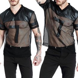 see through men s shorts NZ - Sexy V-Neck Men Summer Short Sleeve Faux Leather Mesh See-through T-shirt Top