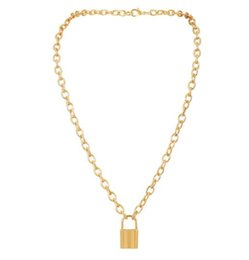 $enCountryForm.capitalKeyWord Australia - DHL Lock Pendant Necklace Simple Cute alloy gold sliver clavicle chain Necklaces Long Chain Fashion Jewelry Women Girls Gift