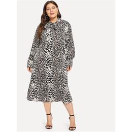 0f1d35f413 Women Dresses Hot Sale Spring 2019 Plus Size OL Aline Leopard Gray High  Street Preppy Boho Female Fashion Hip Hop Bow Dress