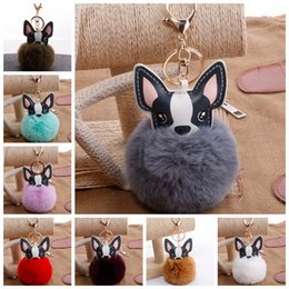 $enCountryForm.capitalKeyWord Australia - Fluffy 8cm Plush Ball Keychain Dog Pu Leather Gold Metal Prom Ball Pom Key Chains Key ring Holder for Car Bag Fashion Accessories