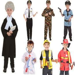 police cosplay 2019 - Kids Halloween Fire Costume Children Day Costume Police Attorney Pilot Doctor Worker Pilot Performance Boy Girl Cosplay