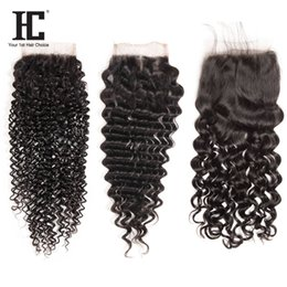 curly hair middle part closure 2019 - Brazilian Virgin Human Hair 4X4 Lace Closure Middle Straight Hair Body Wave Deep Water Wave brazilian deep wave curly vi