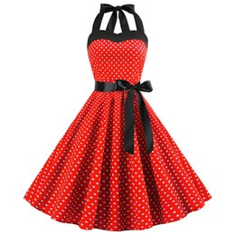 $enCountryForm.capitalKeyWord Australia - Red Sexy Polka Dot Dress 2019 Audrey Hepburn Vintage Halter Dress 50s 60s Gothic Pin Up Rockabilly Dress Plus Size Robe designer clothes