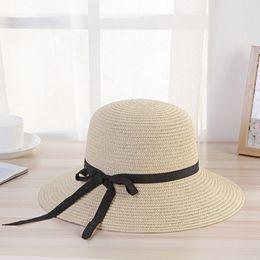 $enCountryForm.capitalKeyWord Australia - 2019 Women Summer Hat Girl Beach Elegant Black Streamer Bow Big Wide Brim Sun Hats Panama Natural Style Foldable Straw Hat