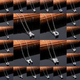 $enCountryForm.capitalKeyWord NZ - 26 English Alphabet Letter Necklace Diamond Crystal Initials Letter Pendants For Women Girls Jewelry Gift A2361