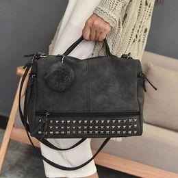 $enCountryForm.capitalKeyWord Australia - Fashion Vintage Nubuck Leather Ladies Handbags Rivet Larger Women Bags Hair Ball Shoulder Bag Motorcycle Messenger Hand Bag Y19061705