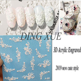 Cute Cat deCals online shopping - 1pc D Acrylic Engraved flower Nail Sticker Embossed lace Flower cute cat Water Decals Empaistic Nail Water Slide Decals Z0103