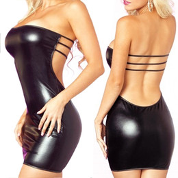 Genuine Leather Sexy Australia - Good Quality New Womens Dress Sexy Slash Neck Faux Leather Dresses T-back Minidress Set woman clothes