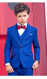 Formal vest boys online shopping - Fashion Royal Blue Boys Formal OccasionTuxedos Shawl Lapel One Button Kids Wedding Tuxedos Child Suit Holiday clothes Jacket Pants Tie Vest