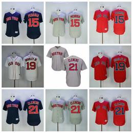 3016cd086 Men's Boston Dustin Pedroia Jersey Red Sox Jackie Bradley Jr. Roger Clemens White  Red Grey Navy Cool Flex Baseball Jerseys