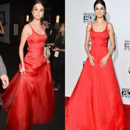 Discount one piece dresses images free - Red Prom Dresses Plain Sexy Long Spaghetti Straps Satin A line Red Carpet Dresses Evening Elegant Celebrity Party Dress