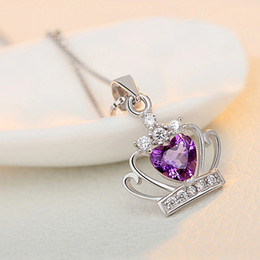 $enCountryForm.capitalKeyWord Canada - Luckyshine Formal Party Jewelry Promise Love Amethyst Crown heart shaped pendant For Women Wedding Engagement Necklaces Pendant