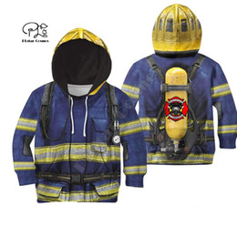 Discount fireman clothes - Family Clothes Firefighter Suit Kids baby 3D Print Hoodies mom and daughter Sweatshirts jacket t shirts Fireman cosplay
