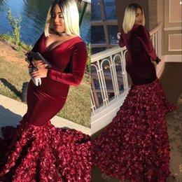 e67eb327d1f 2019 New Burgundy Dark Red 3D Rose Floral Flowers Mermaid Prom Dresses V  Neck Long Sleeves Velvet African Black Girls Evening Party Gowns