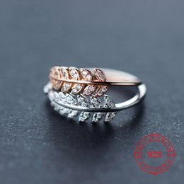 $enCountryForm.capitalKeyWord Australia - China factory prices wholesale silver jewelry high quality 925 sterling silver ring white zircon white rhodium rose gold plated leaf ring
