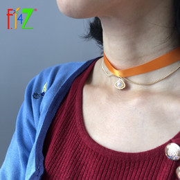Conch Pearl Charm Australia - F.J4Z Hot Seashell Choker Necklace for Women Baroque Alloy Conches Simulated Pearl Charms Silk Collars Jewelry Wholesale