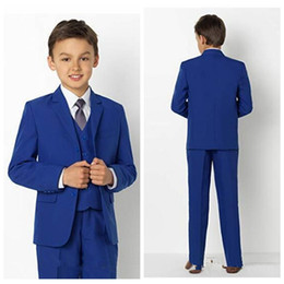 Navy blue three piece tuxedo online shopping - Formal Custom Boy Wear For Wedding Tuxedos Kids Suits Customized Events Suit Jacket Pants Vest