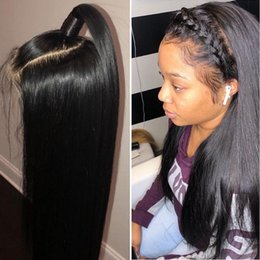 straight full lace wig silk base NZ - Glueless Silk Top Full Lace Wigs With Baby Hair Brazilian Silky Straight Lace Front Human Hair Wigs 5*4.5'' Silk Base Lace Wigs