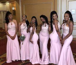 $enCountryForm.capitalKeyWord NZ - Hot Sale Pink Bridesmaid Dresses 2019 Halter key Neck Floor Length Formal Prom Party Dresses Wedding Guest Gowns Custom Made