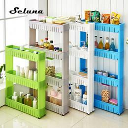 $enCountryForm.capitalKeyWord Australia - Movable Plastic Interspace Storage Rack Refrigerator Space Rack with Roller Shelves Kitchen Bathroom Strollers Interval