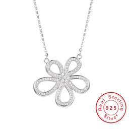 $enCountryForm.capitalKeyWord Australia - Hot Sell 925 Sterling silver Flower Necklaces Pendants with High Quality white gemstone For Women Birthday Gift Cocktail Jewelry