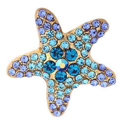 Cheap Bracelet Sets UK - Cheap Charm Bracelets XH3143 NEW 18mm beach starfish crystal Metal Snap button fit snap jewelry DIY