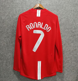 4301b0ab476 Classic retro soccer jerseys 2007 MU football shirts top quality soccer  lothing custom name number ronaldo 7 rooney 10 UCL long sleeve