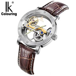 $enCountryForm.capitalKeyWord Australia - IK Automatic Mechanical Watches Men Brand Luxury Rose Gold Case Genuine Leather Skeleton Transparent Hollow Watch 50m waterproof