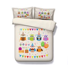 Chinese  Owl Duvet Cover Set Decorative 3 Piece Bedding Set With 2 Pillow Shams For Boys Girls Kids Teens 3D Quilt Cover Bedlinens No Comforter manufacturers