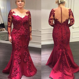 mother groom long satin dresses NZ - Dark Red 2021 Mother Of The Bride Dresses Lace Appliuque Beading Illusion Long Sleeves Formal Evening Gowns Gorgeous Wedding Groom Mother