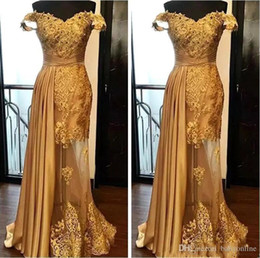 Black Dress Golden Beading Australia - 2019 Off The Shoulder Long Evening Dresses Arabic Golden Tulle Applique Ruched Beaded Floor Length Pageant Formal Party Gowns Prom Robes