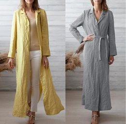 $enCountryForm.capitalKeyWord Australia - 2019 Casual Loose Long Sleeve Coat Long Length With belt Cardigan Elegant Solid Color For Women Thin Coats