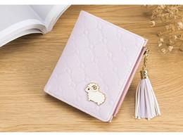 Cartoon Sheeps Australia - New women mini purse pu leather cartoon sheep purse ladies short zipper tassel pink wallet wholesale