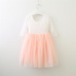 $enCountryForm.capitalKeyWord Australia - Baby Girl Tutu Dresses Solid Short Sleeve Princess Skirt Cotton Blends Lace Printed Knee-Length A-Line Skirt Round Neck 40