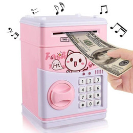 Electronics Money Australia - cartoon Electronic Piggy Bank ATM Password Money Box Cash Coins Saving Box ATM Bank Safe Box Automatic Deposit Banknote Christmas Gift DHL