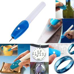 wholesale engraving glasses Canada - Electric Etching Engraving Pen Steel Jewellery Engraver Pen Kit Metal Carving Tool Plastic Glass Wood Carve Battery Powered