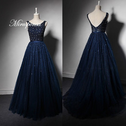 $enCountryForm.capitalKeyWord Australia - Newest Sleeveless Chinese Evening Dress Black Pearls Heavy Beading Gatsby Modest Evening Dresses with Crystals A-Line Engagement Dress Navy