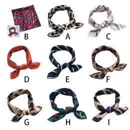 Polka Dot Scarves Wholesale Australia - 50x50cm Women Retro Square Neck Headscarf Colorful Leopard Polka Dot Printed Bag Scarf Faux Silk Bandana Handkerchief Headband 9