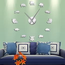 $enCountryForm.capitalKeyWord Australia - Sus Scrofa Wild Boar Figures Wall Art Mirror Stickers DIY Giant Wall Clock Wild Pig Large Hanging Clock Watch Hunter Gifts