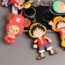 $enCountryForm.capitalKeyWord NZ - Anime One piece Smile Luffy PVC Keychain Tony Chopper Lufff Merry Funny Pendant Key Chain PVC Figure Keyring Cute Toys Keychain Gift