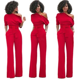 $enCountryForm.capitalKeyWord Australia - Women One Shoulder Jumpsuits Romper Overall Sexy bodycon tunic Jumpsuit party elegant Wide Leg Pant body solid playsuit LJJA2579
