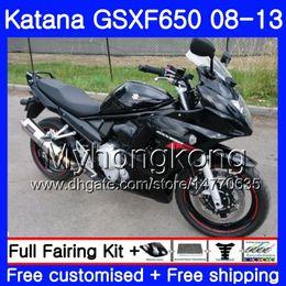 Body For SUZUKI KATANA GSXF 650 GSX 650F GSX650F 08 09 10 11 12 13 303HM.0 GSXF650 2008 2009 2010 2011 2012 2013 Fairings ALL Glossy black on Sale